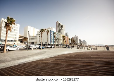 TEL AVIV, ISRAEL - MARCH 24, 2014: Seafront of Tel Aviv at the of summer day on March 24, 2014, Israel