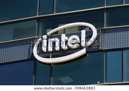 Tel Aviv, Israel - March 30, 2016: Intel logo on a building, Intel is one of the world's largest and highest valued semiconductor chip makers, based on revenue.