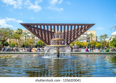 tel aviv, israel - March 7, 2019: Rabin Square, formerly Kings of Israel Square, was created in 1964 and renamed 'Rabin Square' following the assassination of Yitzhak Rabin in 1995.