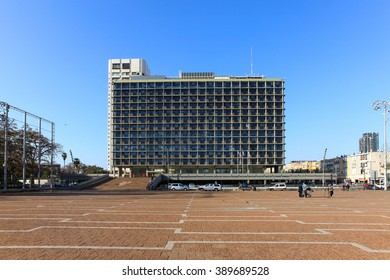 Tel Aviv, Israel - March 7, 2016: Rabin square in central Tel Aviv on a sunny day.Rabin square is has been the site of numerous political rallies, parades, and other public events.