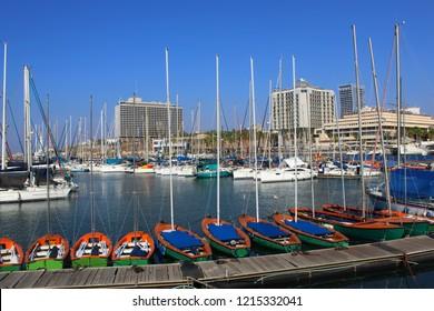 Tel Aviv, Israel. Marina Tel Aviv: boats, yachts, ships. Mediterranean Sea in Tel Aviv, Beach, Hotels. Popular Tourist destination in Israel