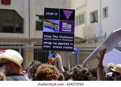 Tel Aviv, Israel- May, 05, 2017: Hundreds rally outside the Russian Embassy in Tel Aviv on May 5, 2017 to protest the persecution of gay men in Chechnya.