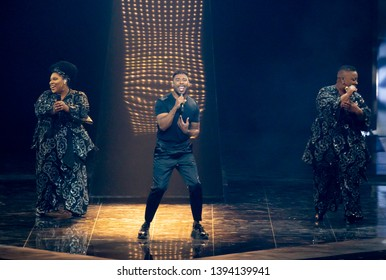 Tel Aviv, Israel – MAY 10, 2019: John Lundvik, representing Sweden, rehearsing the song Too late for love for the second semi-final at the Eurovision song contest 2019.