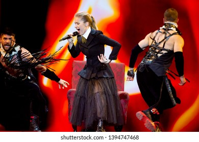 Tel Aviv, Israel – MAY 10, 2019: Ester Peony (Ester Alexandra Cretu), representing Romania, rehearsing the song On a Sunday for the second semi-final at the Eurovision song contest 2019.