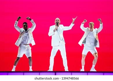 Tel Aviv, Israel – MAY 10, 2019: Serhat (Ahmet Serhat Hacıpasalıoglu), representing San Marino, rehearsing the song Say Na Na Na for the first semi-final at the Eurovision song contest 2019.