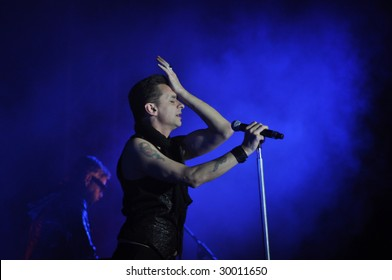 TEL AVIV, ISRAEL – MAY 10 : English electronic music band perform on stage during their 'Tour of the Universe' tour May 10, 2009 in Tel Aviv, Israel.