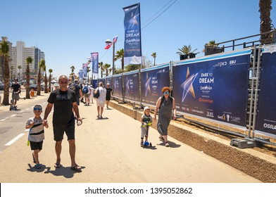 TEL AVIV, ISRAEL. May 11, 2019. People curious about the preparations to the international Eurovision song contest in the Eurovision village in central Tel Aviv. Eurovision 2019 concept, Dare to dream