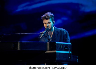 Tel Aviv, Israel – MAY 15, 2019: Duncan Laurence, representing The Netherlands, rehearsing the song Arcade for the second semi-final at the Eurovision song contest 2019.