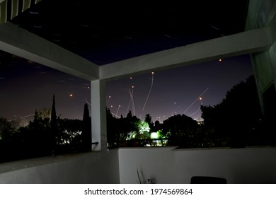 TEL AVIV, ISRAEL MAY 15, 2021: Multiple Iron Dome (kippat barzel) missiles intercept and destroy short-range rockets launched from Gaza  during Operation Guardian of the Walls. Long exposure image