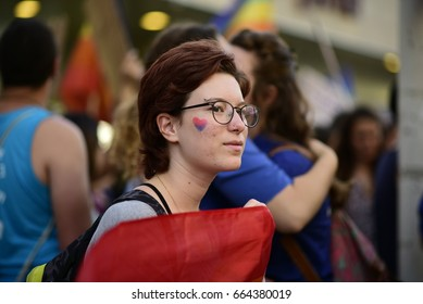 Tel Aviv, Israel- May, 17, 2017: Hundreds rally outside the Russian Embassy in Tel Aviv on May 17, 2017 to protest the persecution of gay men in Chechnya.