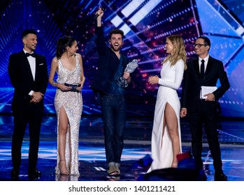 Tel Aviv, Israel – MAY 18, 2019: Duncan Laurence, representing The Netherlands,on stage after winning the Eurovision song contest 2019.
