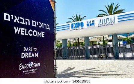 Tel Aviv, Israel - May 2019: View on the EXPO center where Eurovision took place in the city