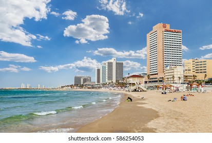 Tel Aviv, Israel - May 24, 2014: Embankment with hotels in Tel Aviv, Israel
