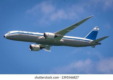 TEL AVIV, ISRAEL. May 9, 2019. The El Al air company Boeing 737 Dreamliner flying over the Tel Aviv coast during the annual flyby on the occasion of the 71 Israel Independence Day concept.