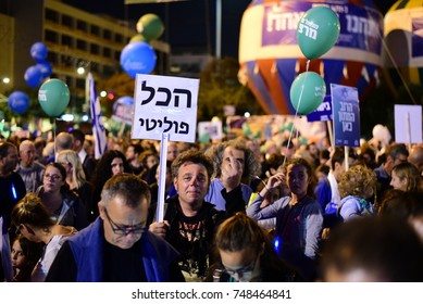 """TEL AVIV, ISRAEL - November 04 2017: Israeli holds a sign that reads """"Everything Is Political"""" during a memorial rally to former prime minister of Israel Yitzhak Rabin"""