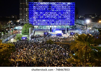 TEL AVIV, ISRAEL - November 04 2017: Israelis attend a rally marking 22 years since the assassination of former prime minister of Israel Yitzhak Rabin at Rabin Square in Tel Aviv