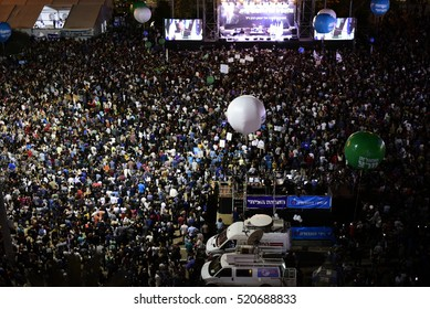 TEL AVIV, ISRAEL - November 06 2016: Israelis attend a rally marking 21 years since the assassination of late prime minister Yitzhak Rabin at Rabin Square in Tel Aviv on November 5, 2016