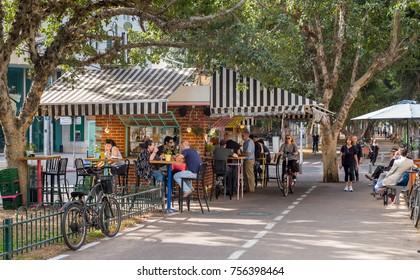 TEL AVIV, ISRAEL - NOVEMBER 14, 2017 : Cityscape of street cafe at boulevard Rothschild  in Tel Aviv, Israel.