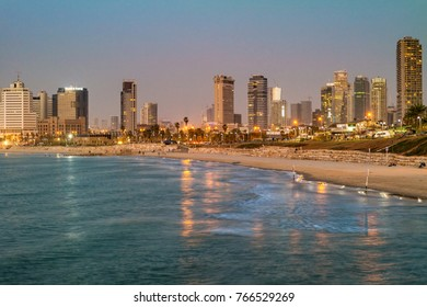 TEL AVIV ISRAEL November 2016: Tel Aviv city coastline at night, Israel.