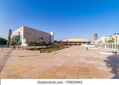 TEL AVIV ISRAEL November 2016: View of Habima square in Tel Aviv, Israel.