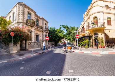 TEL AVIV ISRAEL November 2016: Street scene in Neve Zedek district in Tel Aviv, Israel.