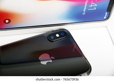 TEL AVIV, ISRAEL - NOVEMBER 23, 2017: Iphone X smart phone. Latest Apple Iphone 10 mobile phone. Newest Iphone with touch screen