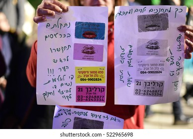 TEL AVIV, ISRAEL - November 24 2016: Hundreds of people marched on the streets of Tel Aviv, Israel to mark the International Day for the Elimination of Violence Against Women.