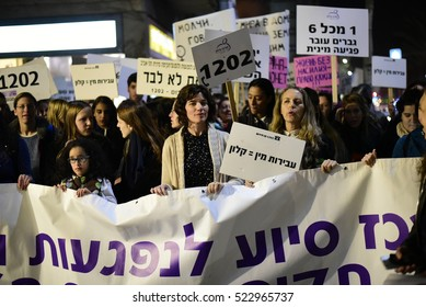 TEL AVIV, ISRAEL - November 24 2016: Hundreds of people marched on the streets of Tel Aviv, Israel to mark the International Day for the Elimination of Violence Against Women