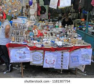 Tel Aviv, Israel - November 30, 2017: stall with souvenire goods at Carmel market in Tel-Aviv