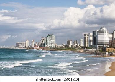 TEL AVIV, ISRAEL - NOVEMBER 30, 2015: View of Tel Aviv and the Mediterranean coast  as seen from the old Jaffa