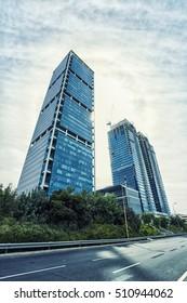 TEL AVIV, ISRAEL - OCT 12, 2016 :  Facade Of Modern Skyscrapers, Electra Building