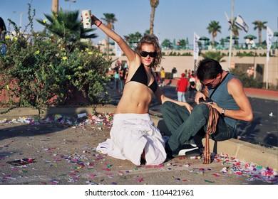 TEL AVIV, ISRAEL - October 08 2004: (Film Scan) Participants In Love Parade