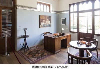 TEL AVIV, ISRAEL - OCTOBER 20, 2014: Study room on the second floor in Bet Bialik House museum.