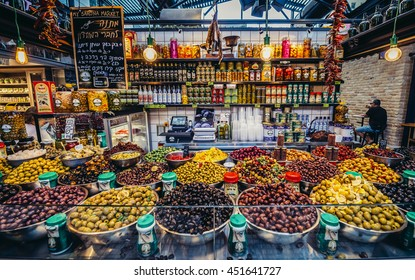 Tel Aviv, Israel - October 21, 2015. Olives for sale at pupular covered public market called Sarona Market in Tel Aviv