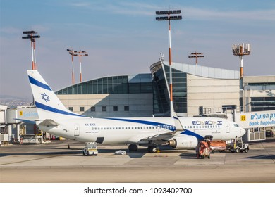 TEL AVIV, ISRAEL - OCTOBER 24, 2017: The aircraft of the Israeli airline El Al Boeing 737-800 on the airfield of the airport named after Ben Gurion, Israel