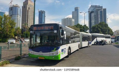 TEL AVIV, ISRAEL. October 5, 2018. Kavim bus company passenger bus parked at the 2000 transportation terminal by the Tel Aviv Savidor central train station. Israel bus public transportation.