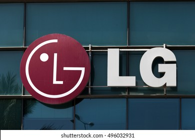 Tel Aviv, Israel, October 6, 2016: LG logo on a building. LG Corporation , formerly Lucky-Goldstar, is a South Korean multinational conglomerate corporation