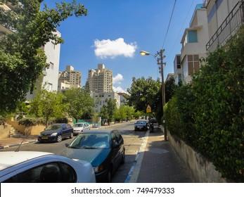 TEL AVIV, ISRAEL - SEPTEMBER 1 2011: Streets and buildings of Tel Aviv, the major city of Israel. Middle East