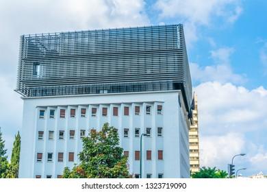 TEL AVIV, ISRAEL, SEPTEMBER 10, 2018: Modern headquarters of Fiverr in Tel Aviv, Israel