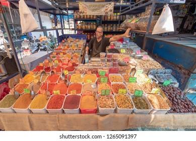 Tel Aviv, Israel - September 12, 2018: Carmel Market in Tel Aviv, Israel is a very popular marketplace in Tel Aviv sells mostly food and home accessories goods.