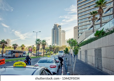 Tel Aviv, Israel-December 11, 2017: Taxi stop at the InterContinental David Hotel. Taken at Yosef Levi Street. It is a seafront of the city with a number of luxury hotels on the eastern side.