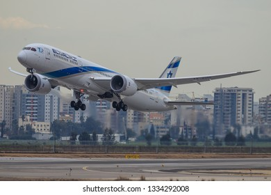 TEL AVIV, ISRAEL-February 24, 2019: Boeing 787 of El-AL At Ben-Gurion international Airport.
