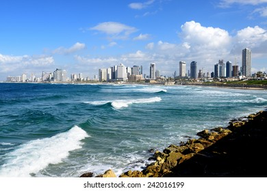 TEL AVIV, ISRAEL-JANUARY 03, 2015: Tel Aviv Coastline view from Jaffa. The second most populous city and the largest metropolitan in Israel with population of 410,000.