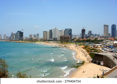 Tel Aviv from Jaffa, Israel. Tel Aviv cityscape from across the Mediterranean Sea.