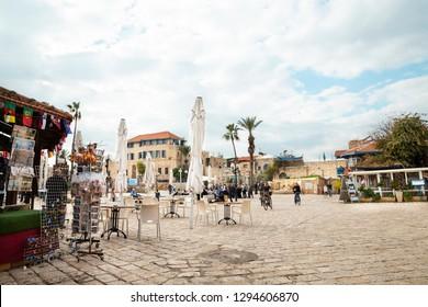 Tel Aviv, Jaffa, Israel - December 23, 2018: Kdumim Visitor Center square in Old Jaffa historic town - Tel Aviv, Israel