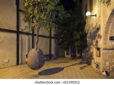 TEL AVIV - JAFFA, ISRAEL - OCTOBER 20, 2014: Floating Orange Tree by Ran Morin in Old Jaffa city