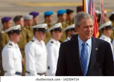 TEL AVIV - JAN 09:U.S. President George W. Bush  during the welcoming ceremony in Israel on Jan 9 2008.US President George W. Bush visited Israel twice during his two terms.