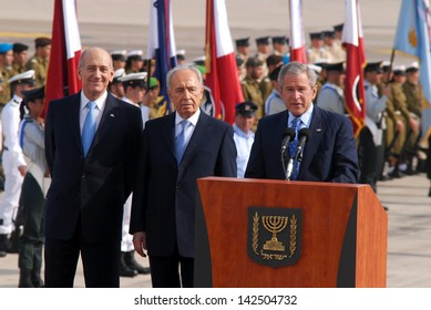 TEL AVIV - JAN 09:U.S. President George W. Bush giving a speech during the welcoming ceremony in Israel on Jan 9 2008.US President George W. Bush visited Israel twice during his two terms.