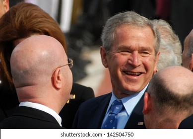TEL AVIV - JAN 09:U.S. President George W. Bush smile during the welcoming ceremony in Israel on Jan 9 2008.US President George W. Bush visited Israel twice during his two terms.