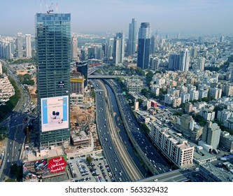 TEL AVIV - JANUARY 2017:  The Azrieli Center contains an observation deck with a restaurant that offers views of the city skyline, as seen in Tel Aviv circa 2017.